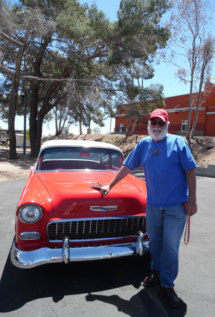Hali Bernstein Saylor/Boulder City Review Leo Jones of the 3 Old Guyz Car Club brougth his 1955 Chevy to display at Emergency Aid of Boulder City's first Mexican Chip Dip Competition on Saturday.  ...
