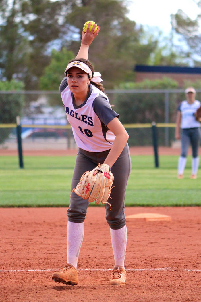 Laura Hubel/Boulder City Review Pitcher Jordan Moorhead went the distance in Boulder City High School's five-inning softball game against Legacy High School on Friday, where the Lady Eagles shut t ...