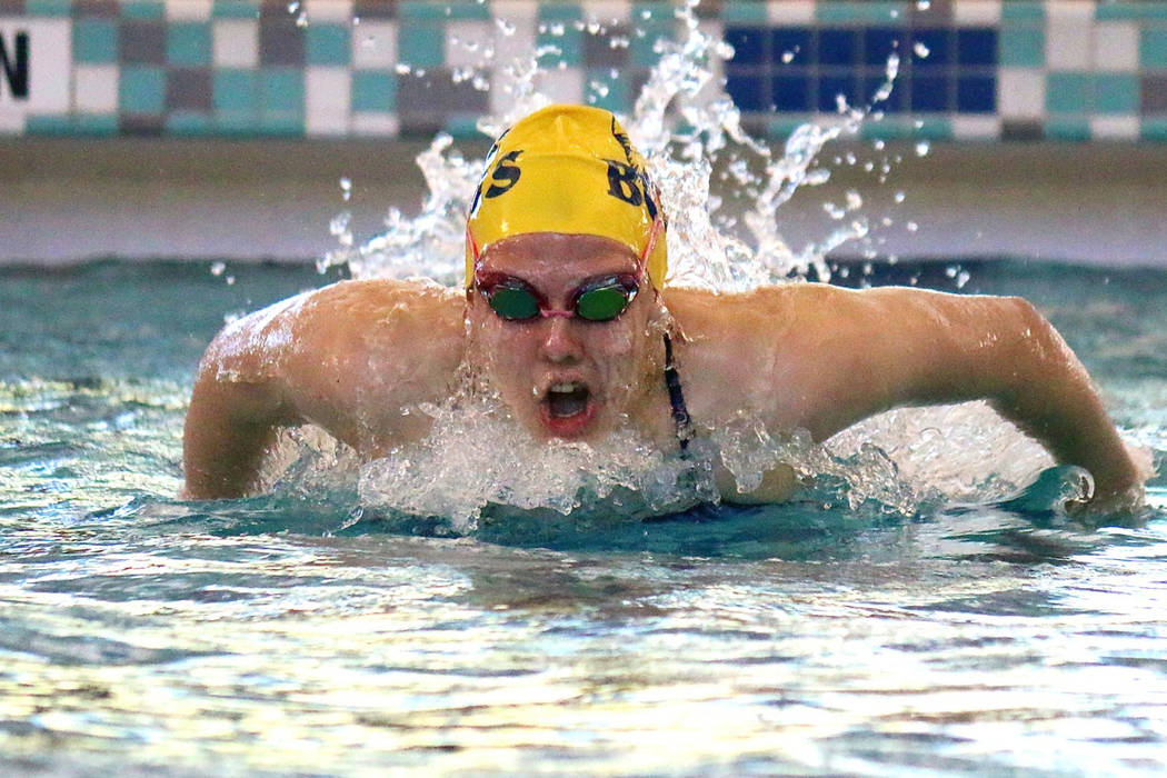 Laura Hubel/Boulder City Review Boulder City High School senior Mandy Gebhart went in as the top seed in the 100-meter butterfly with a time of 1:03 on Saturday and, after a strong swim, held her  ...