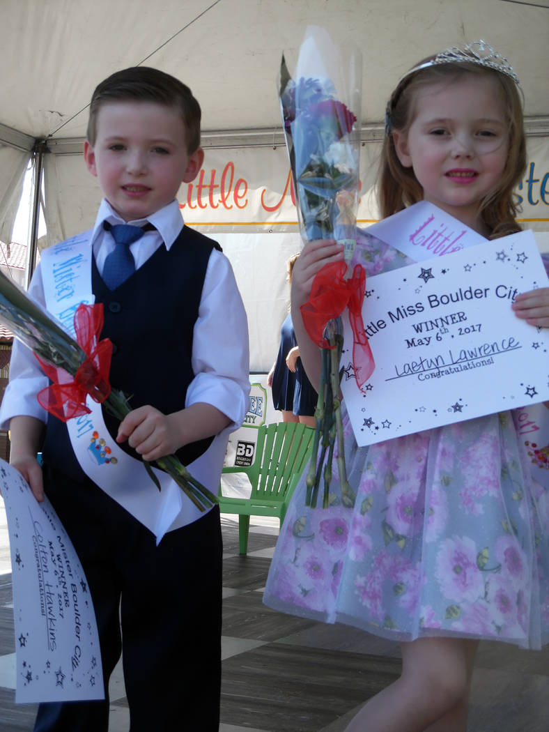 Hali Bernstein Saylor/Boulder City Review Colton Hawkins, left, and Laetyn Lawrence were crowned Little Mister and Little Miss Boulder City after answering questions about their families, favorite ...