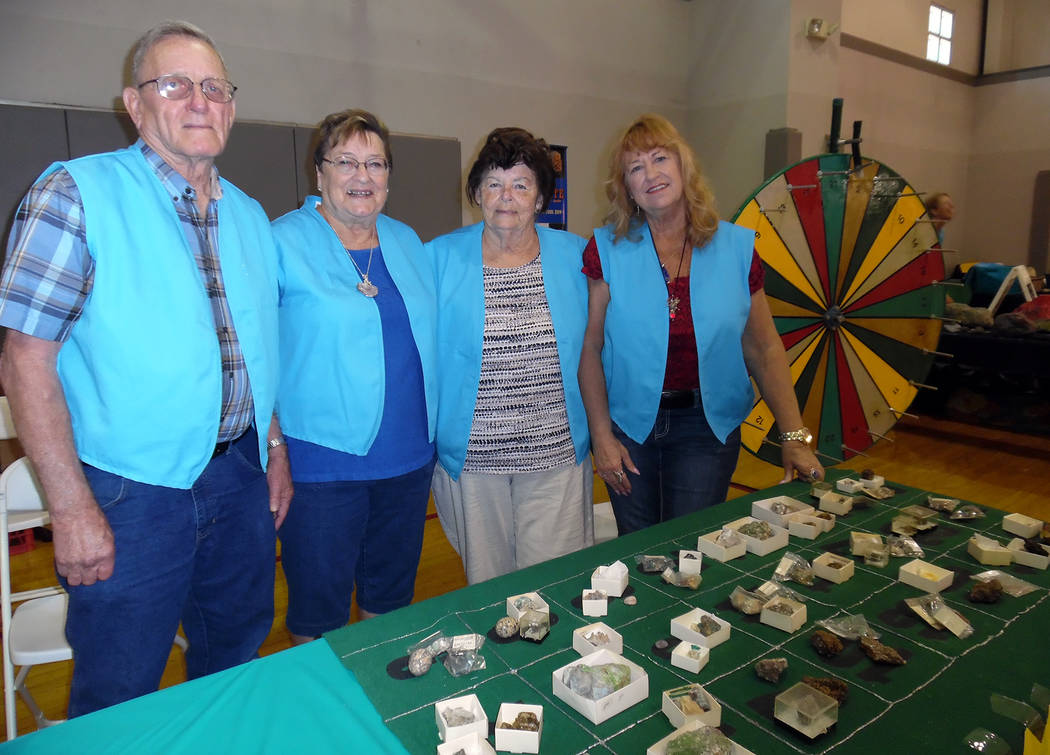 Hali Bernstein Saylor/Boulder City Review Members of the Southern Nevada Gem and Mineral Society, from left, Jerry Kuykendall, Carol Kuyendall, JoAnn Sprott and Ann Harris, had a game of chance of ...