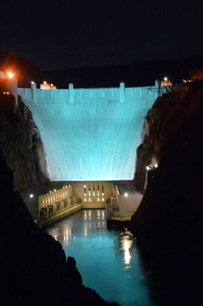 Celia Shortt Goodyear/Boulder City Review The Hoover Dam is turning turquoise for the American Lung Association's Lung Force Turquoise Takeover to raise awareness for lung cancer during National W ...