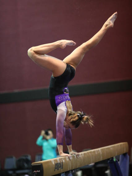 Gail Sanford Breann Sanford, 17, of Boulder City competes on the beam during the USA Gymnastics Region 1 event on April 9. She placed first in the event and advanced to the Western championships,  ...
