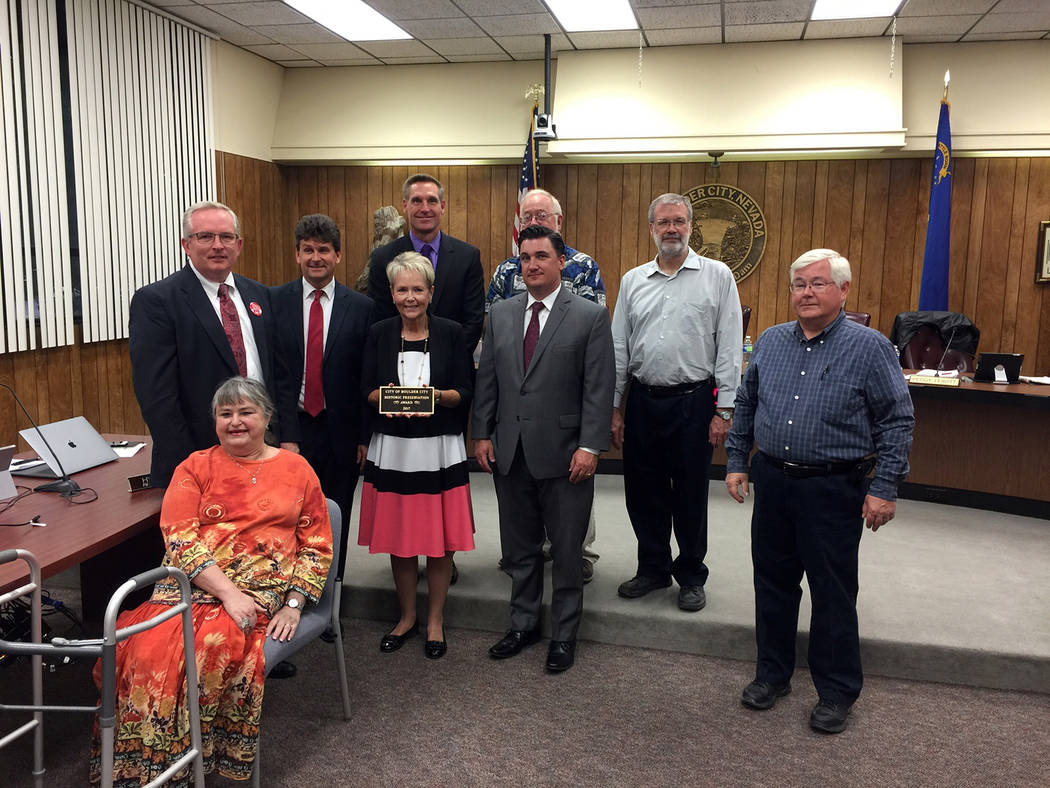 Lorene Krumm The Boulder City Historic Committee awards its 2017 Boulder City Historic Preservation Award the Sun Dial Park Walkway Restoration Project at 620 Nevada Way in recognition of the deta ...