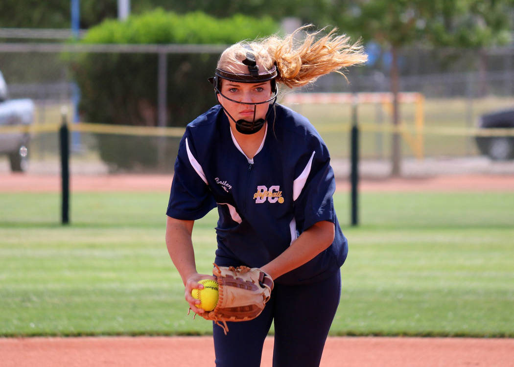 Laura Hubel/Boulder City Review Boulder City High School junior Bailey Bennett-Jordan pitched against Western striking out 10 and knocking in a home run herself to help the Lady Eagles to a 16-6 v ...