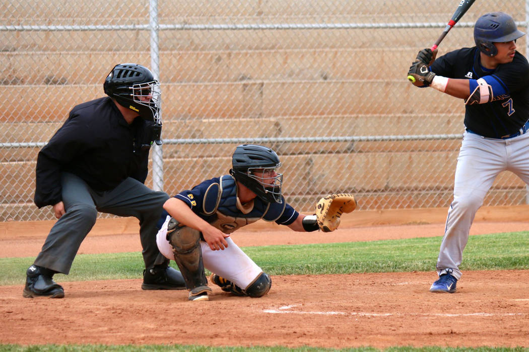 Laura Hubel/Boulder City Review Boulder City High School senior catcher Kodey Rahr had two hits and four RBIs to help the Eagles defeat Desert Pines 12-0 in their first playoff game on Tuesday.