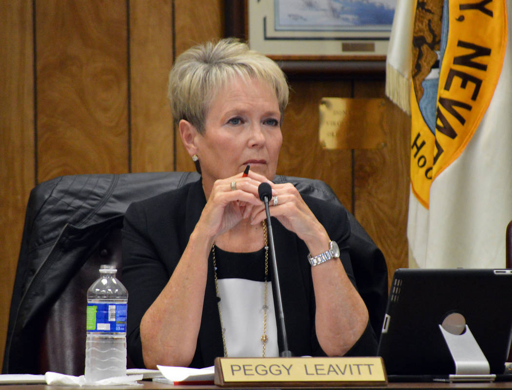 Celia Shortt Goodyear/Boulder City Review Councilwoman Peggy Leavitt listens to a presentation about The Cottages subdivision at Tuesday's City Council meeting.