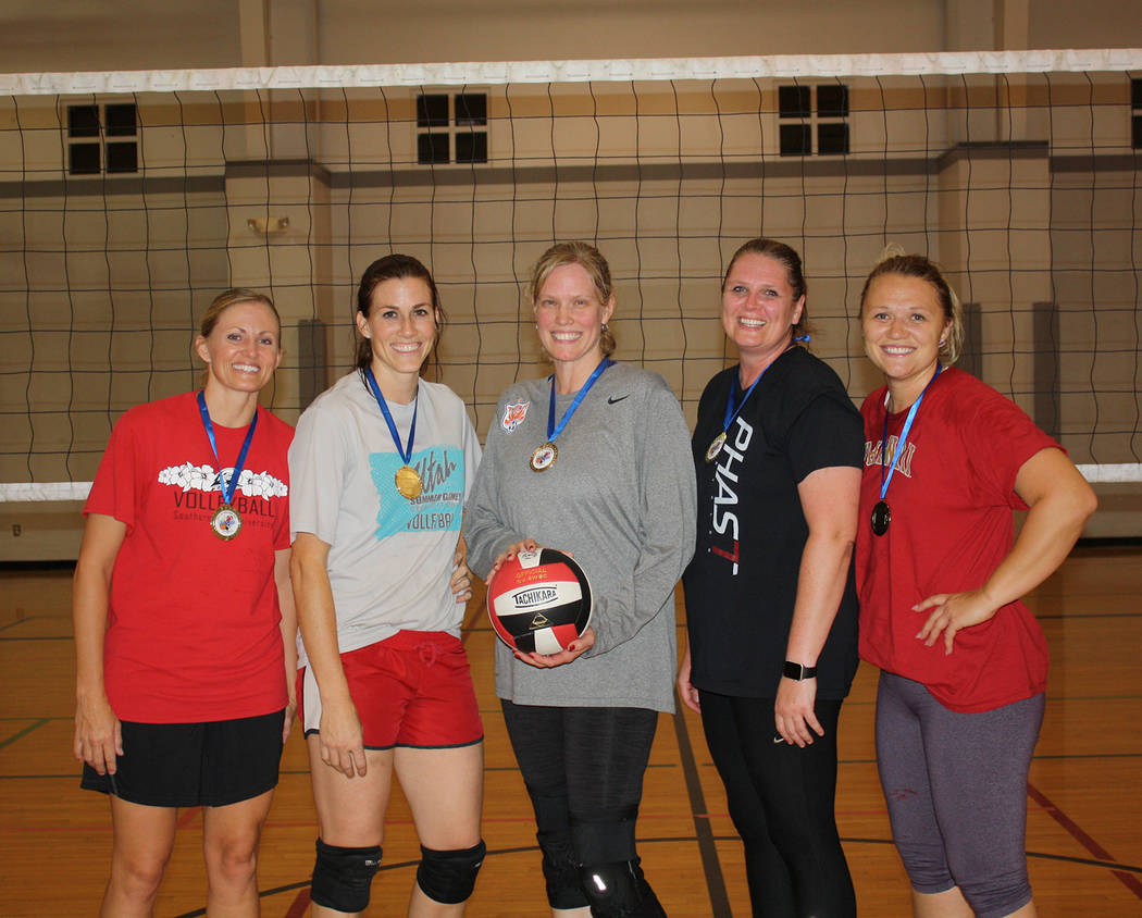 Boulder City Parks and Recreation The Volleygirls, from left, Camis Higbee, Kim Moolenaar, Jacque Holt, Jennie Lewis and Kortney Tobler, dominated Boulder City Park and Recreation Department's spr ...