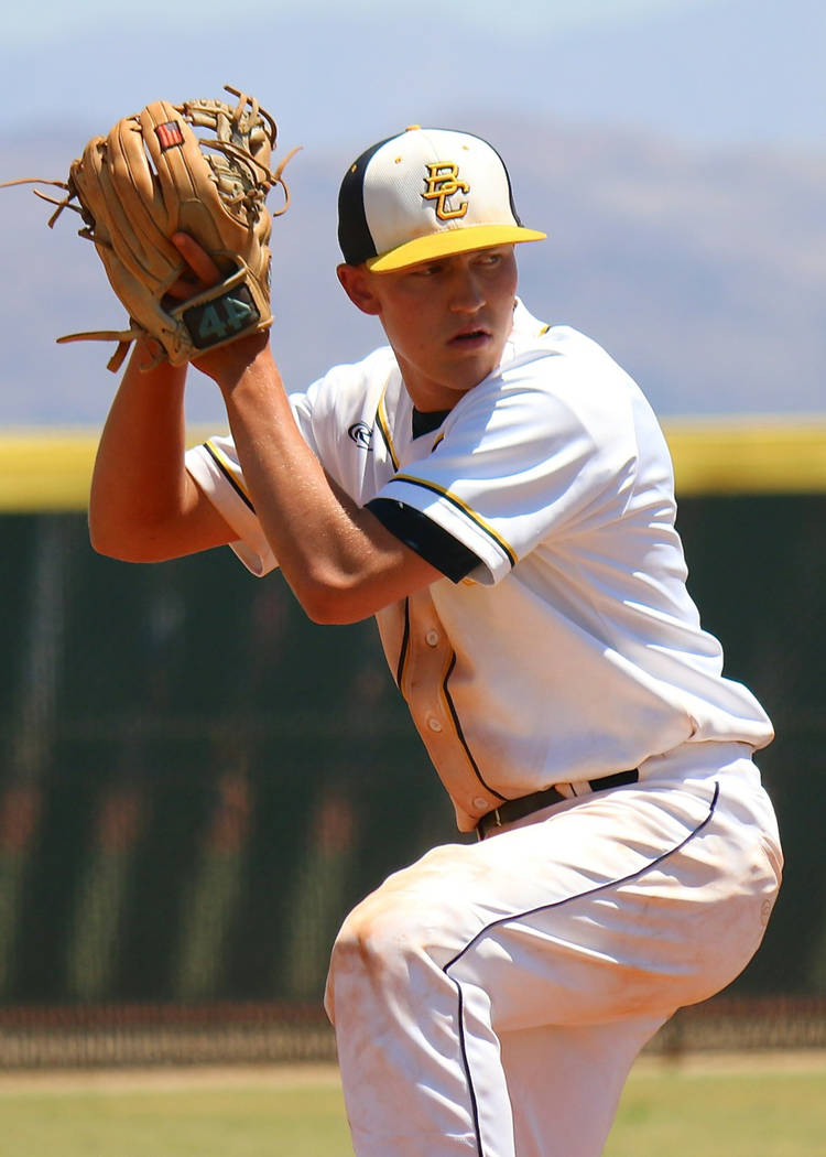 Laura Hubel/Boulder City Review Boulder City High School junior Rhett Armstrong struck out seven Moapa Valley Pirates and allowed one run off of five hits to help the Eagles win the 3A Southern Re ...