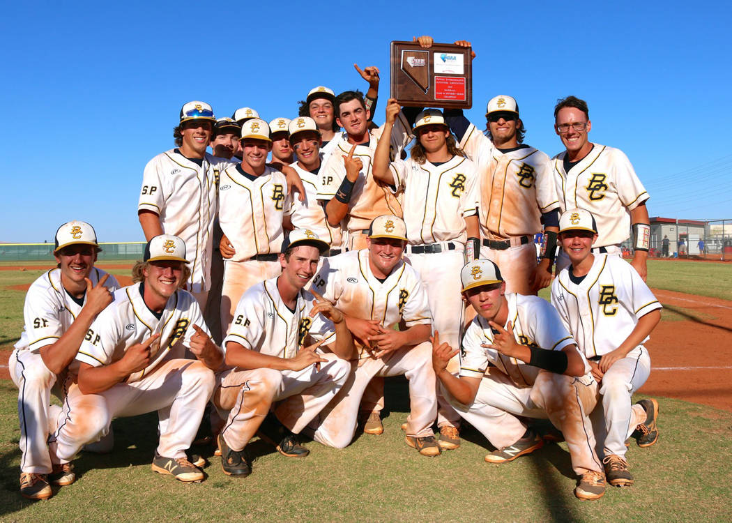 Laura Hubel/Boulder City Review Members of the Eagles baseball team from Boulder City High School celebrate their regional championship on Saturday after rising through the losers bracket to defea ...