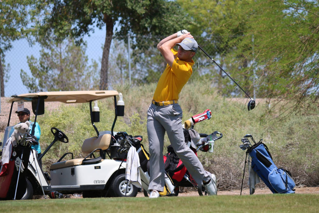 Laura Hubel/Boulder City Review Kyler Atkinson, a senior at Boulder City High School, shot a 154 during the two-day state meet at Spring Creek in Northern Nevada on Monday and Tuesday, coming in s ...
