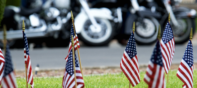 File Flags were placed at the grave of every veteran at the Southern Nevada Veterans Memorial Cemetery in Boulder City. Hundreds of motorcyclists are expected to stop by the cemetery Sunday mornin ...