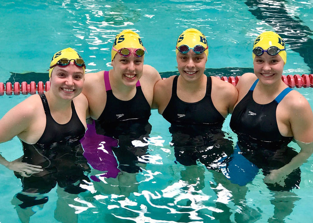 Trish Sauerbrei The Lady Eagles 200-yard freesyle relay team, from left, Abby Sauerbrei, Mandy Gebhart, Montana Lloyd and Rose Pouch, set a new state 3A record with their time of 1:40.17 during th ...