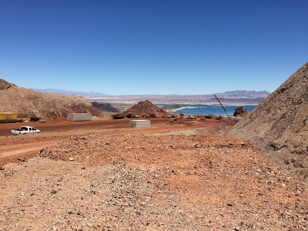 Hali Bernstein Saylor/Boulder City Review Lake Mead can be seen on Friday from a scenic overlook under construction as part of the new Interstate 11. This portion, which cuts through the Eldorado  ...