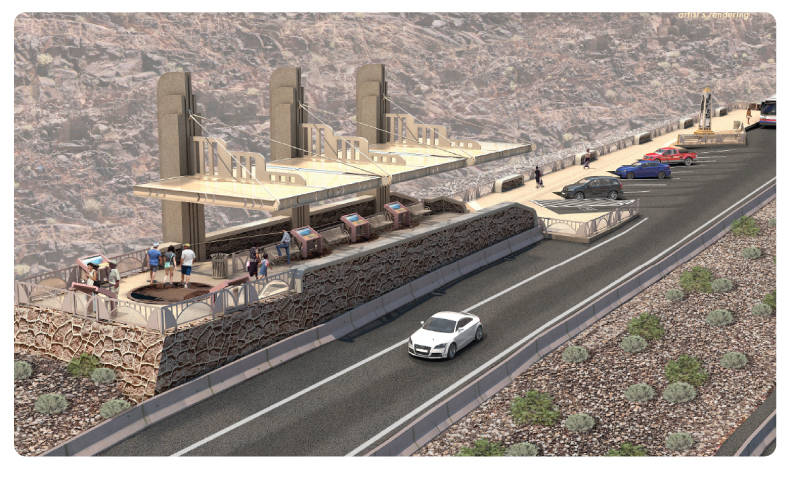 Regional Transportation Commission of Southern Nevada The scenic overlook for Lake Mead on the new Interstate 11 will have an art deco look and informational panels.