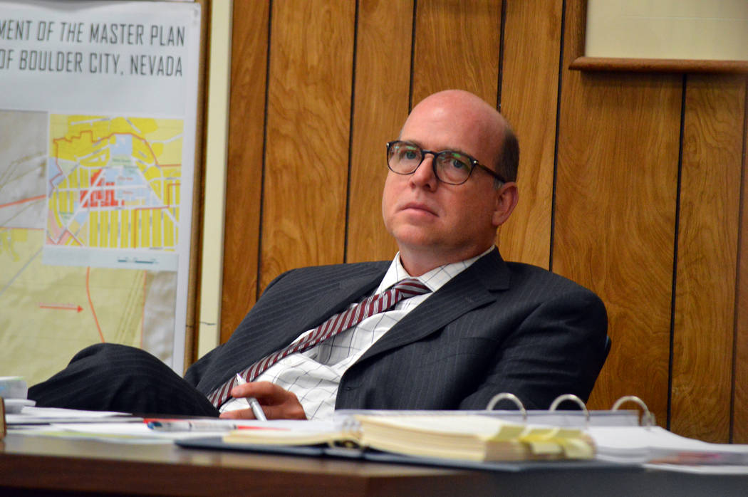 Celia Shortt Goodyear/Boulder City Review City Manager David Fraser listens to a staff presentation on a code amendment to prohibit marijuana establishments in the city during Tuesday's City Counc ...