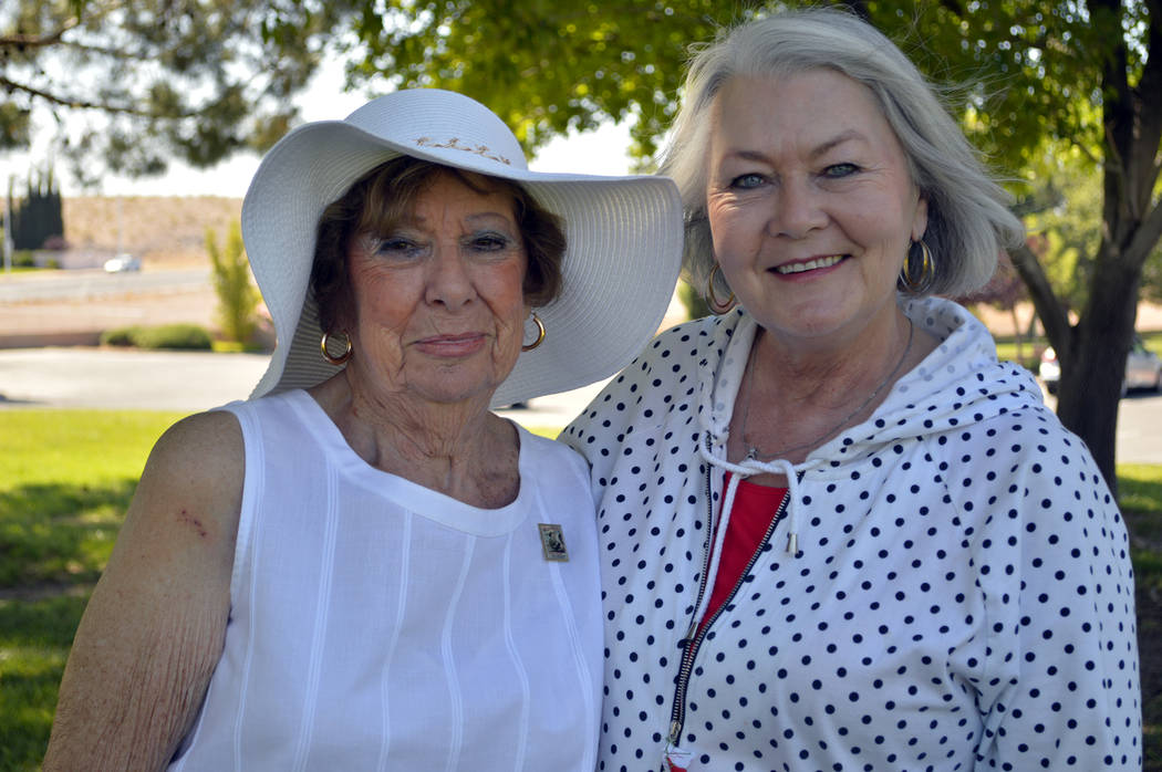 Celia Shortt Goodyear/Boulder City Review World War II veteran Gloria Saucier, left, spoke about the importance of remembering veterans at the Memorial Day ceremony at the Boulder City Cemetery. D ...