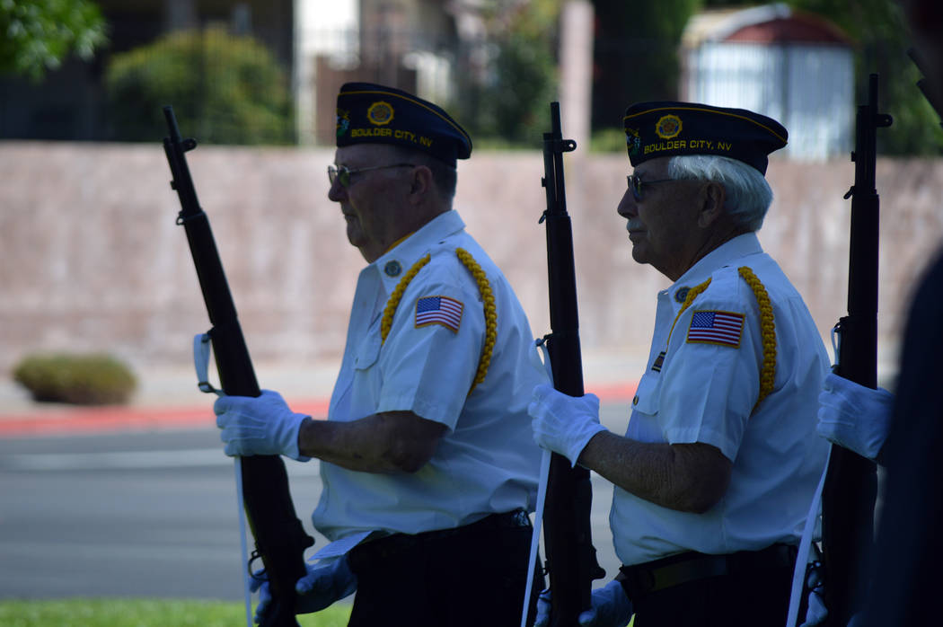 Celia Shortt Goodyear/Boulder City Review Members of an honor guide pay tribute to those who died and served their country at the American Legion's Memorial Day ceremony on Monday.