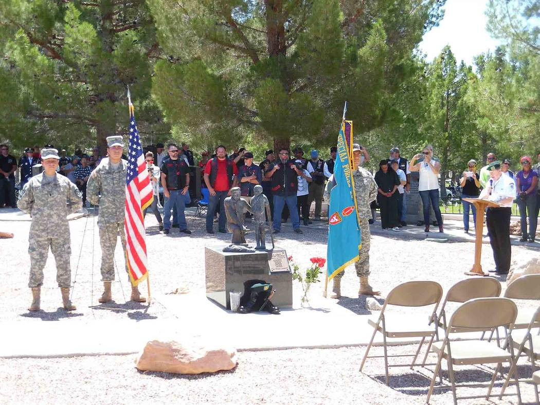 Hali Bernstein Saylor/Boulder City Review The Vietnam Vets-Legacy Vets Motorcycle Club and Special Forces Association, Chapter 51, conducted a service at the Southern Nevada Veterans Memorial Ceme ...