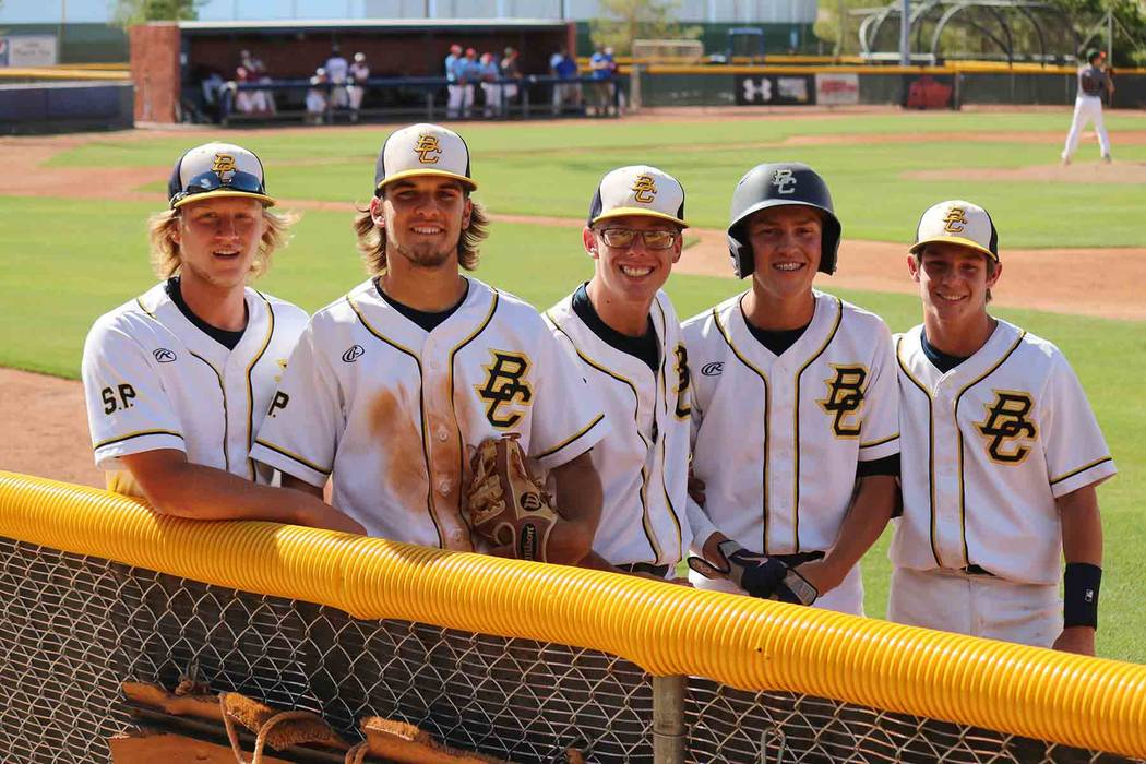 Laura Hubel/Boulder City Review Boulder City High School Eagles, from left, Anthony Pacifico, Jake Hubel, Kodey Rahr, Rhett Armstrong and DJ Reese were selected to play in the May 25 all-star game ...