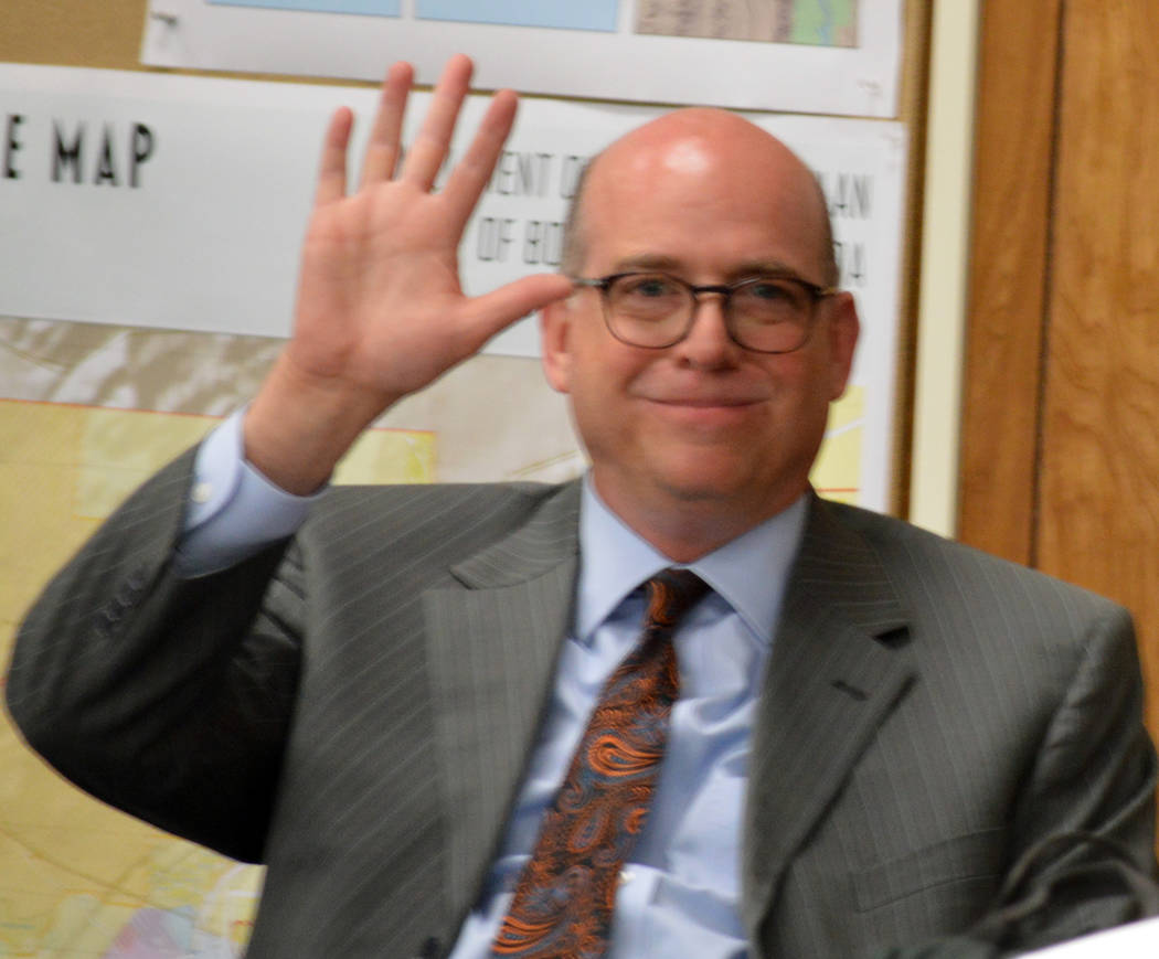 Celia Shortt Goodyear/Boulder City Review Former City Manager Dave Fraser enjoys a moment of levity before the start of Tuesday's City Council meeting. The council members approved a separation ag ...
