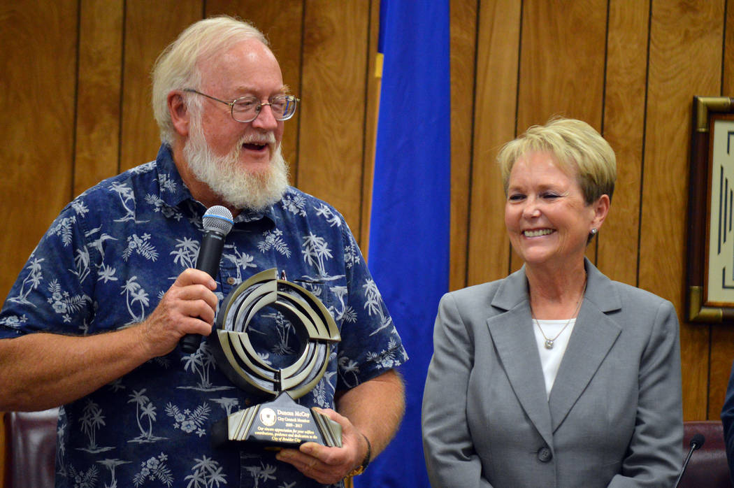 Celia Shortt Goodyear/Boulder City Review Councilman Duncan McCoy reflects on his eight years on the council during his last official meeting of the governing body. He was honored for his service  ...