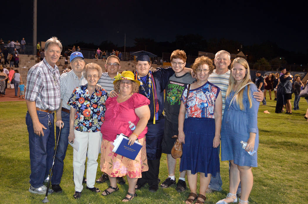 Celia Shortt Goodyear/Boulder City Review Three generations of Alger family members celebrate Caleb Alger's graduation from high school on Friday evening including front row, from left, Gloria Alg ...