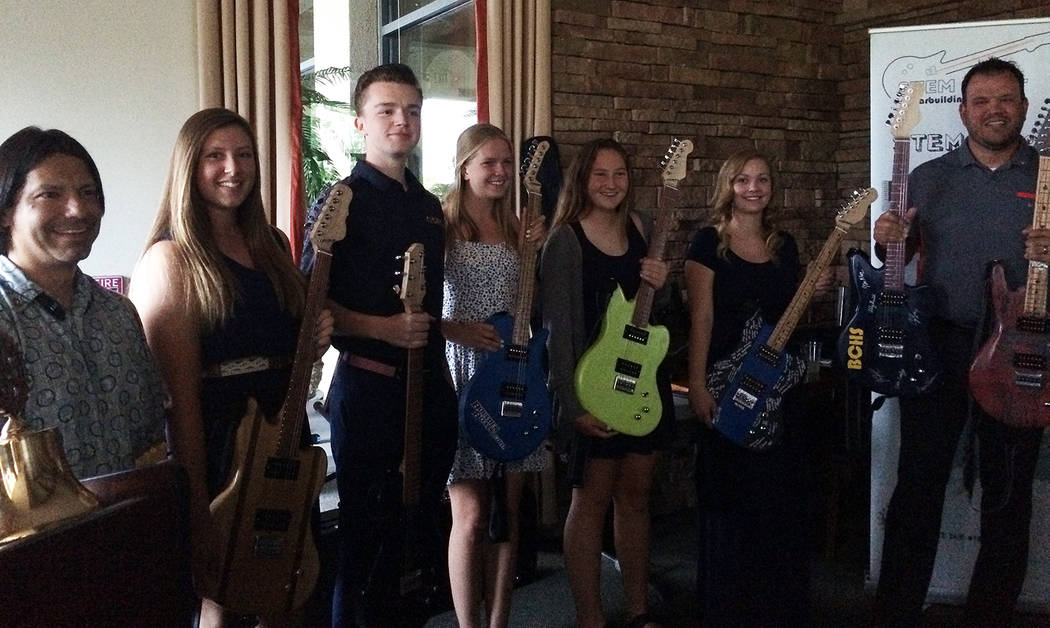 Hali Bernstein Saylor/Boulder City Review Students who participated in the STEM guitar project at Boulder City High School attended a recent meeting of the Rotary Club of Boulder City to thank the ...