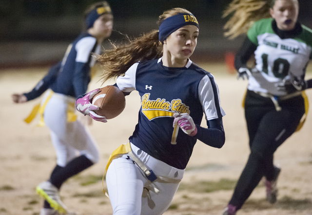 File Boulder City High School recent graduate and valedictorian Kenadee Bailey, seen in a January flag football game, was among the many student-athletes whose outstanding performance contributed  ...