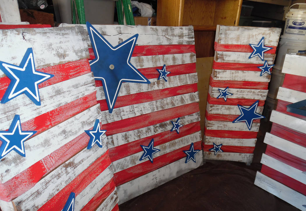 Hali Bernstein Saylor/Boulder City Review Patriotic pallets are being created by a team of volunteers and placed throughout the city as well as being used to decorate Broadbent Park for the annual ...