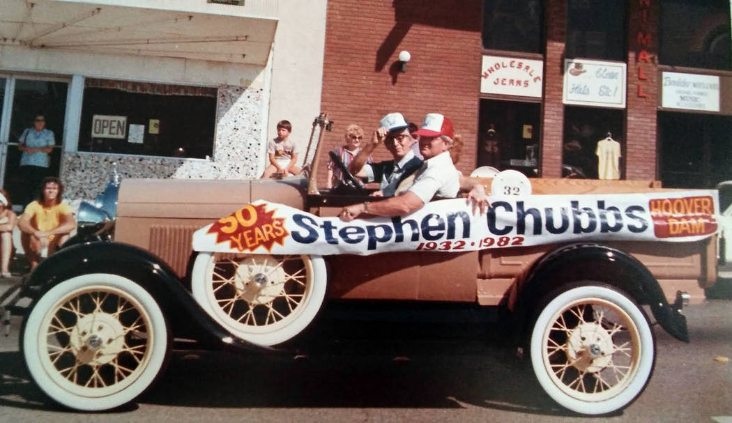 Wendy Perkins Stephen Chubbs, seen tipping his hat, was the grand marshal of the Damboree parade in 1982, marking 50 years of employment at Hoover Dam.