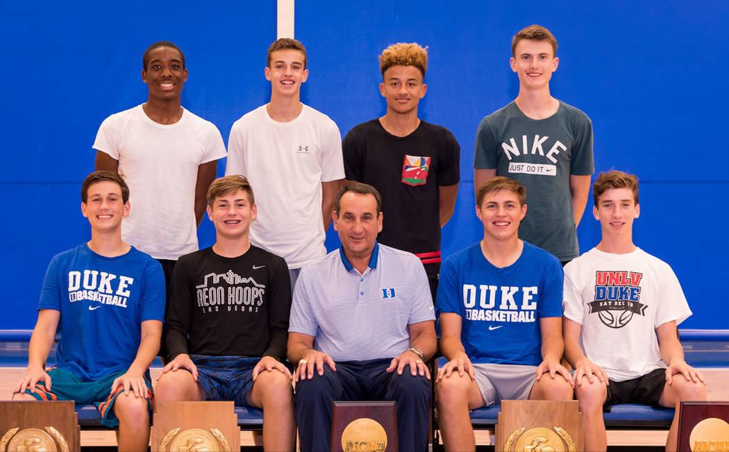 John Balistere Boulder City High School basketball players Karson Bailey, top row, second from left; Gavin Balistere, bottom row, second from left; Carson Balistere, bottom row, fourth from left,  ...