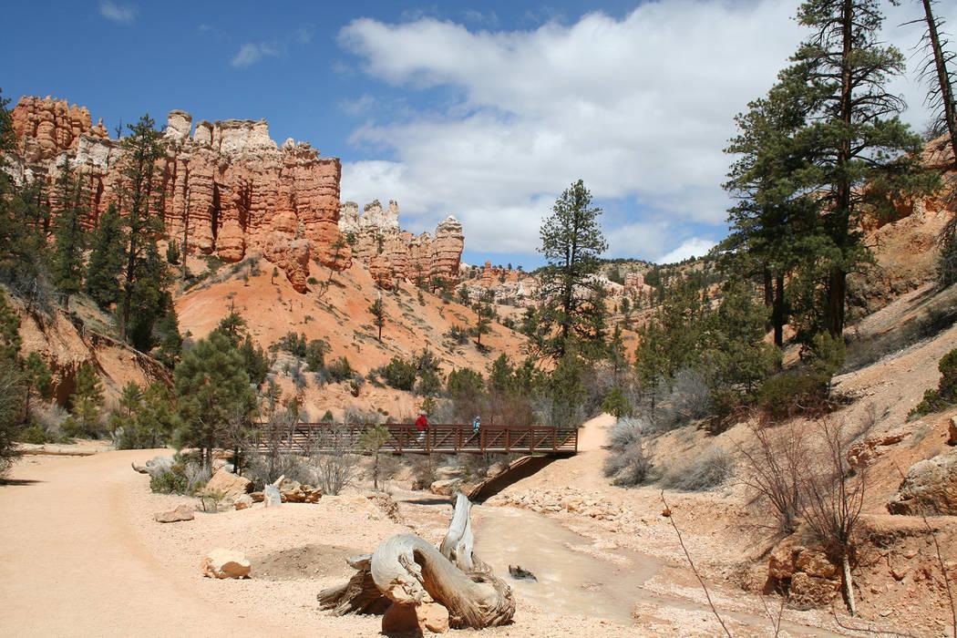 Deborah Wall Hikers walk across the footbridge along the Mossy Cave Trail in Bryce Canyon, Utah.