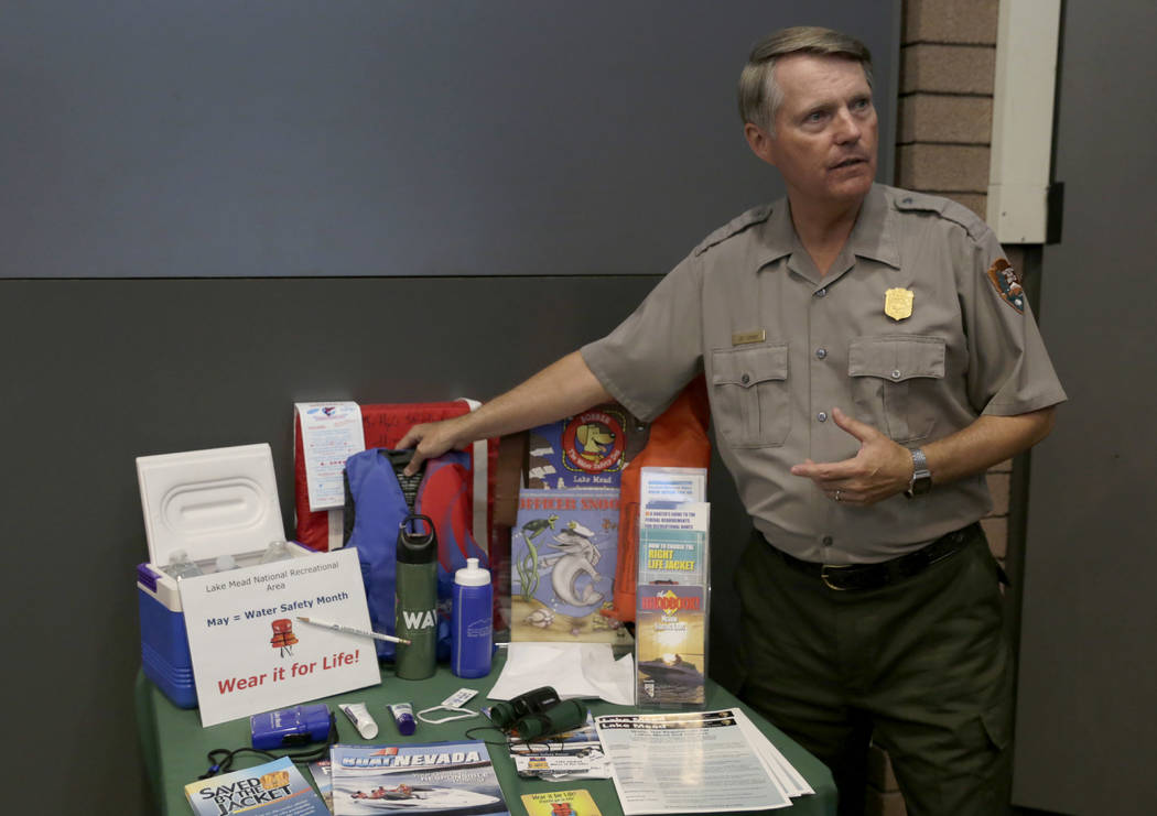 Gabriella Angotti-Jones/Las Vegas Review-Journal Lee Lipinski, interpretive ranger for the Lake Mead National Recreation Area, explains the importance of using life jackets at the Lake Mead Visito ...