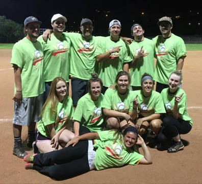 Boulder City Parks and Recreation Celebrating their win as champions of the city Parks and Recreation Department's coed softball league are members of the Boulder Dam Brewery, front row, Amanda Ro ...