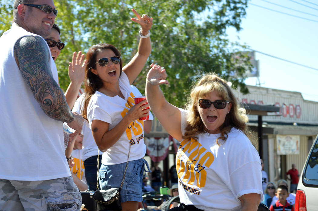 Celia Shortt Goodyear/Boulder City Review Members of the Boulder City High School's class of 1987 enjoy being a part of the Fourth of July parade in Boulder City.