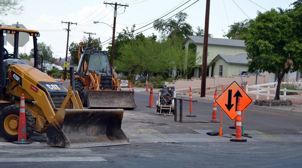 Celia Shortt Goodyear/Boulder City Review The Fifth Street reconstruction project began this week and will continue until August.