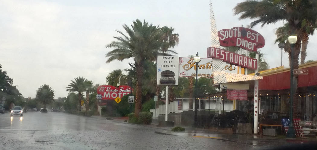 Celia Shortt Goodyear/Boulder City Review Rain hit Boulder City on Monday afternoon, causing poor visibility and standing water on the roadways.