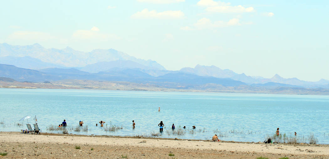 Celia Shortt Goodyear/Boulder City Review Boulder Beach at the Lake Mead National Recreation Area offers a place to cool down during the hot summer temps.