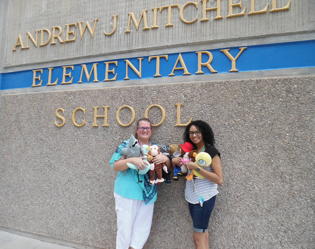 Hali Bernstein Saylor/Boulder City Review Jodi Kermode, left, and Kesia Brooks, who work in the youth services department at Boulder City Library, gathered the assortment of teddy bears and other  ...