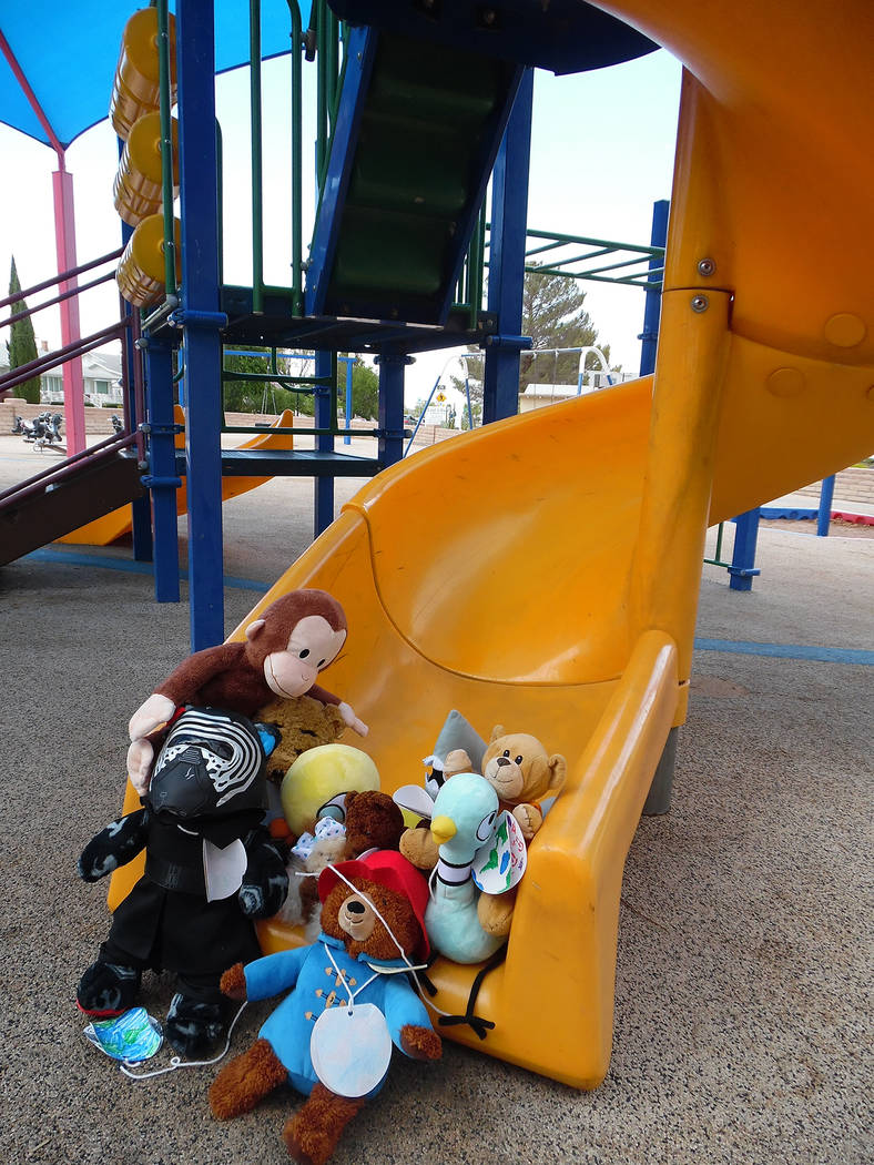 Hali Bernstein Saylor/Boulder City Review Instead of causing mischief at the Boulder City Library, stuffed animals attending Monday's Teddy Bear Sleepover, enjoyed a visit to Bicentennial Park, wh ...