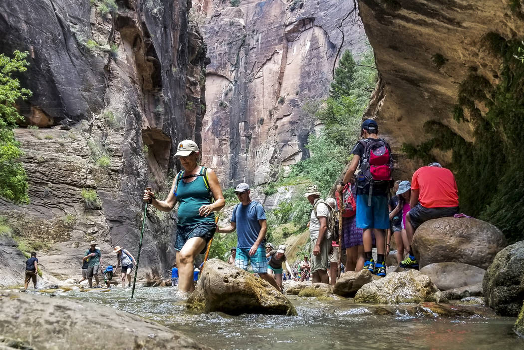 Patrick Connolly/Las Vegas Review-Journal Zion National Park visitors walk along The Narrows, a river hike through the Virgin River, at Zion National Park in Utah earlier this month. Capacity crow ...