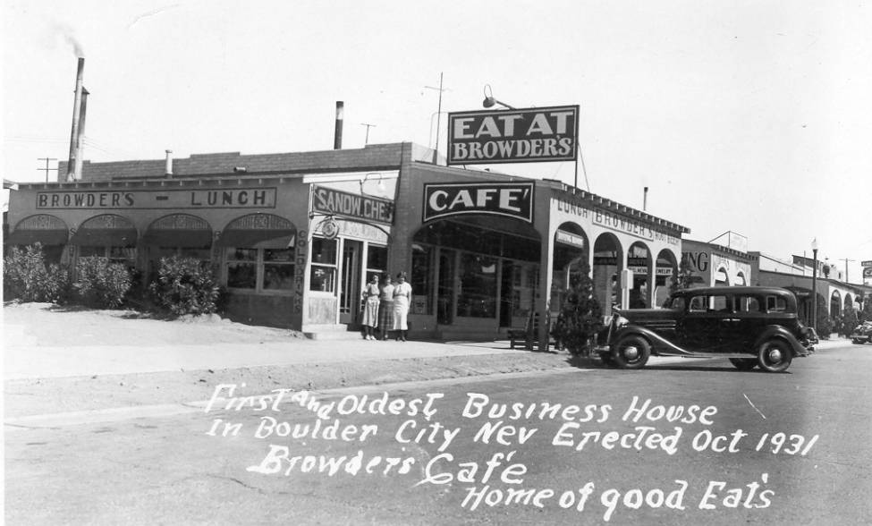 Boulder City/Hoover Dam Museum The picture of the Browder building was used on a postcard made by the Boulder City Visitor Service.