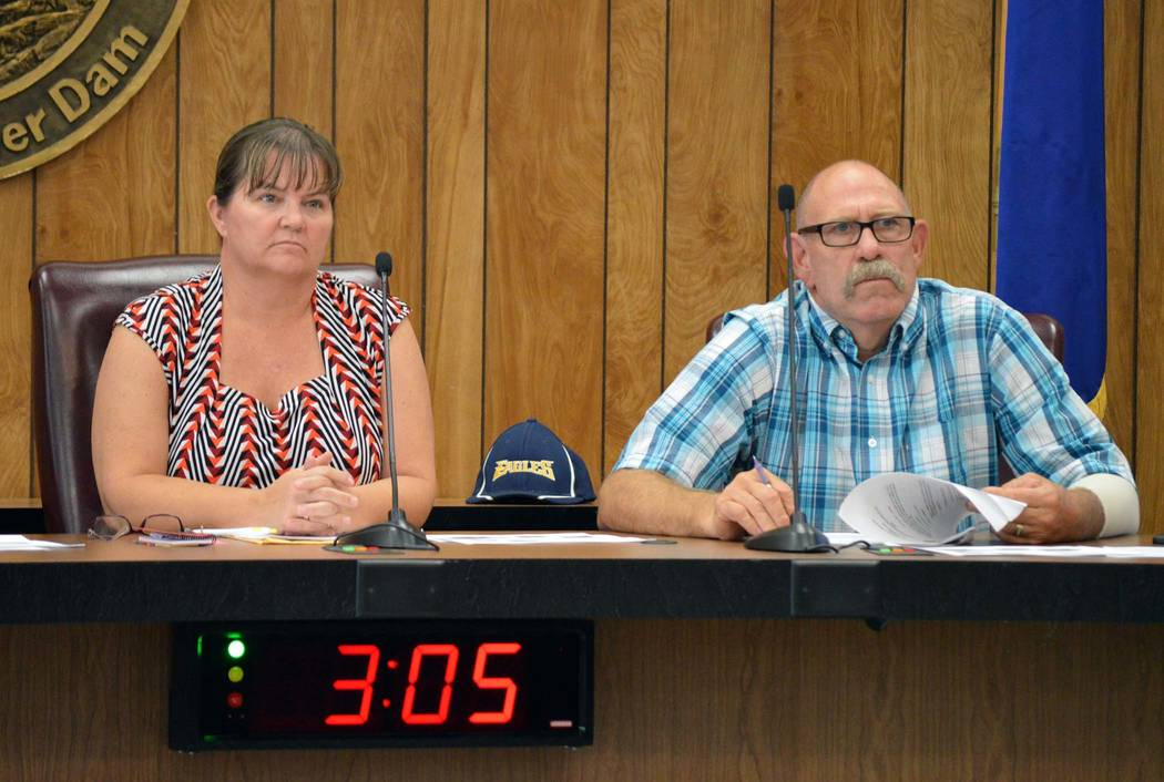 Celia Shortt Goodyear/Boulder City Review Parks and Recreation Commission Chairwoman Carol Lelles and Commissioner Chuck Pickins listen to public comments about the need for a new pool at the comm ...