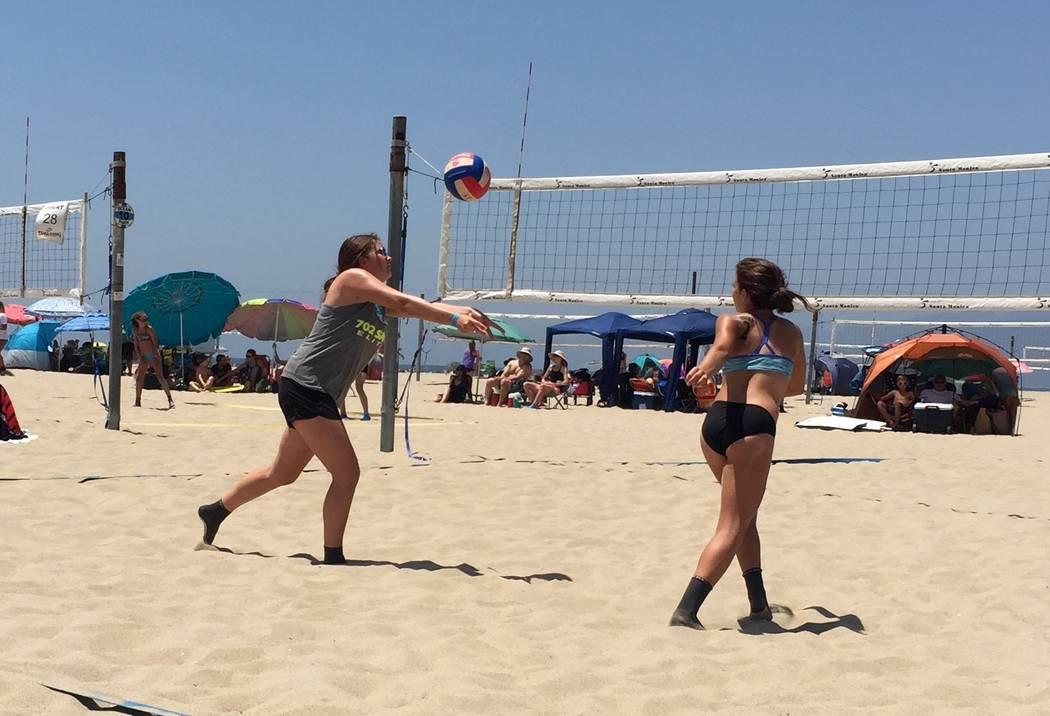 Lorene Krumm Boulder City volleyball player Rachel Krumm (left) returns a ball at the West Coast AAU Junior Olympic Games at Santa Monica Beach.