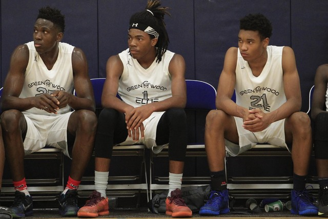 Richard Brian/Las Vegas Review-Journal Greenwood Elite's Terry Armstrong (1) is seen on the bench against Costal Elite during the Las Vegas Fab Forty 8 U17 Invitational championship games on the ...