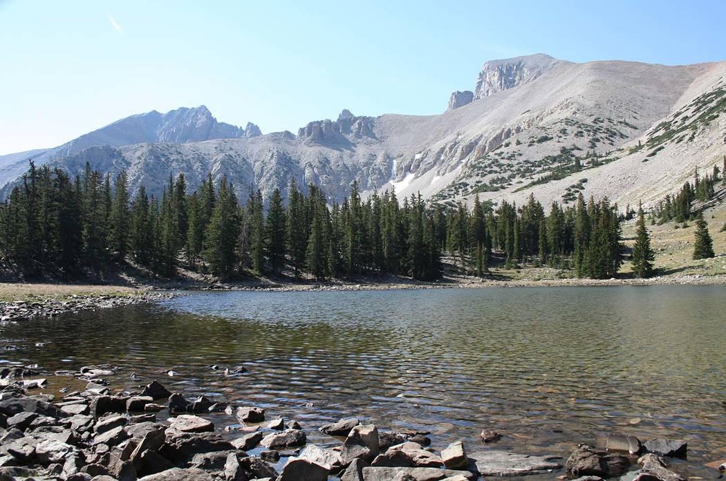 Deborah Wall Stella Lake is at the base of Wheeler Peak in Great Basin National Park along the Alpine Lakes Loop Trail.