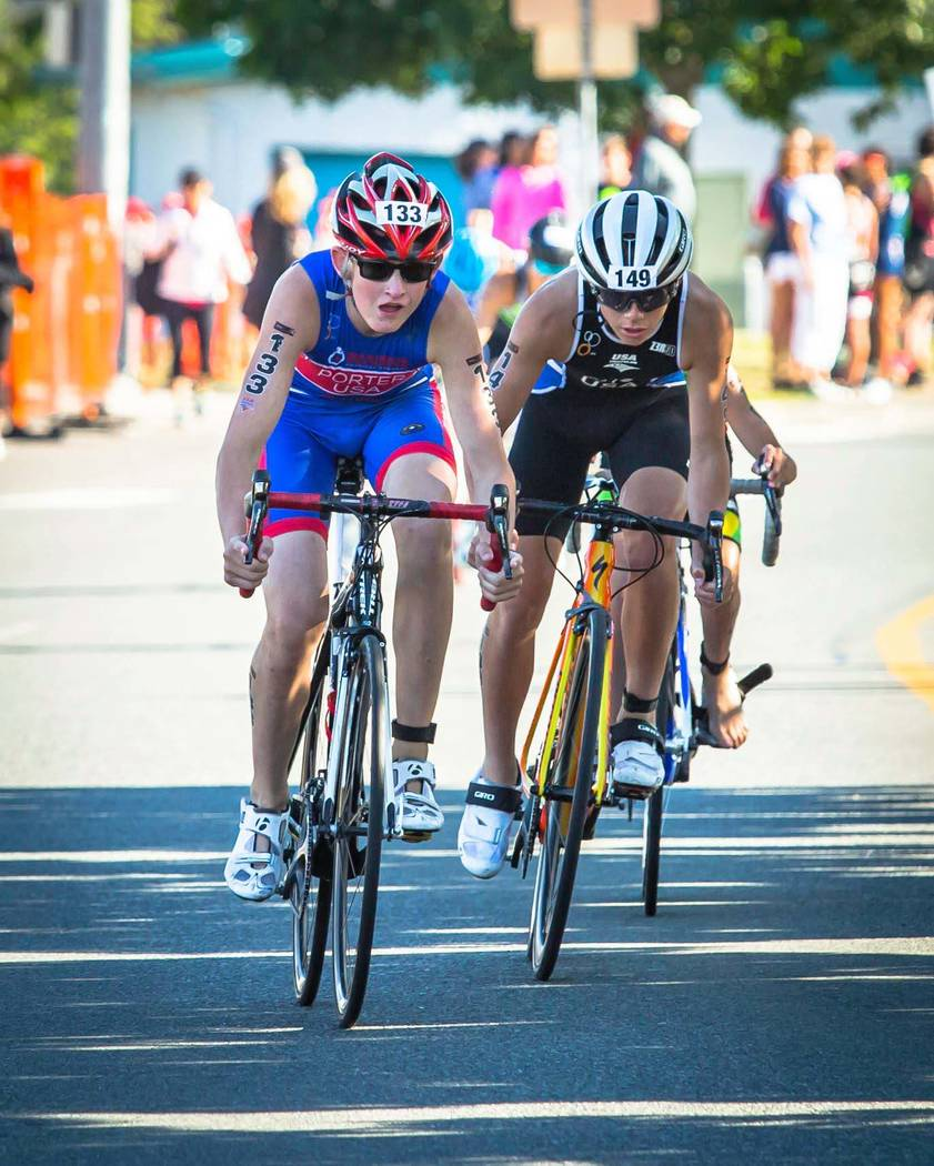 Eddie Carroll Ethan Porter, 14, of Boulder City, seen here at the June 24 regional event in Monroe, Washington, will ride 10 miles while competing in the Elite National Championship triathlon on S ...