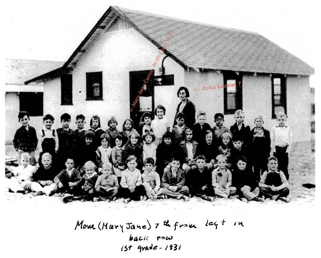 Jim Widner Boulder City High School Class of 1943 graduate Mary Jane Carter Richey Smith can be seen in this photo from 1931, when she was in the first grade. She is seventh from the left in the b ...