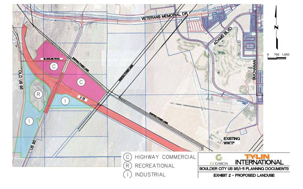 GC Garcia GC Garcia's map of the land surrounding the future interchange of Interstate 11 and U.S. Highway 95 shows possible zoning and uses for the area.